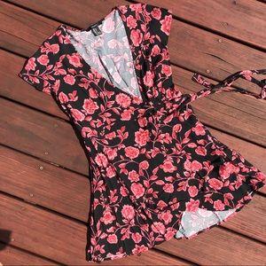 Flowery wrap around dress